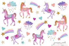 Glittery watercolor unicorn planner stickers, Happy Planner, ECLP, Kate Spade, KikkiK, Filofax, Midori, Fauxdori