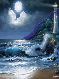 Sparkling sea, lighthouse and moon.  GIFS HERMOSOS: cosas bonitas encontradas en la web