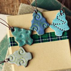 Funky Trees- Handmade ceramic christmas ornaments or tags.