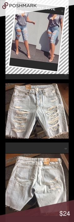 Ripped knee length shorts Ripped knee length boyfriend  shorts. Trendy on point for spring/summer. H&M Shorts Jean Shorts