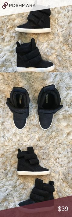 Cape robbin Sparkly black moonwalker wedge sneaker Sparkly black moonwalker wedge sneaker with white sole with box. Great condition cape robbin Shoes Wedges