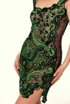 Modern Irish Crochet dress by Galina Verten