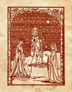 """Book of Shadows:  """"Three Witches' Woodcut,"""" by Charmed-BOS, at deviantART."""
