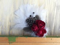 Ruby Silk Flowers with Black & White Feathers by nickelbugdesigns, $14.00