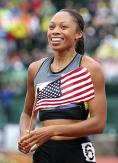"Allyson Felix  Team USA's Allyson Felix is the only woman to be a three-time Athletics World Championship gold medalist. She was nicknamed ""Chicken Legs"" in high school, but her now perfectly built muscular body is far from that."
