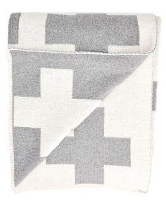 Swiss Cross Crux Reversible Blanket Throw / LEIF