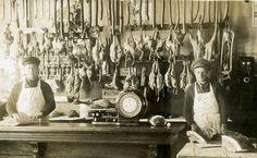 Butcher shop, 1900s. We love shops and shopping. That's it - theretailpractice.com, www.facebook.com/shoppedinternational and www.twitter.com/shopped