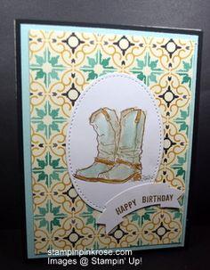 Stampin' Up! Birthday card made with Country Livin' stamp set and designed by Demo Pamela Sadler. See more cards at stampinkrose.com #stampinkpinkrose #etsycardstrulyheart