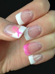 breast cancer french nail designs - Google Search