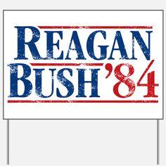 Distressed Reagan - Bush '84 Yard Sign for