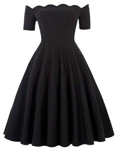 Women Off The Shoulder Black Women Rockabilly Dress