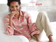 printed linen big shirt & easy linen flat-front pants fun and simply comfortable and vibrant