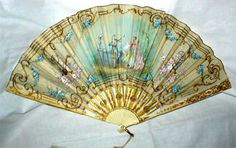 Turq and beige with printed contempory scene - 18th Century French fan