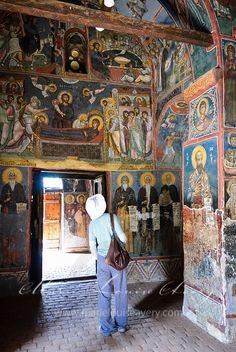 Frescoes in the painted church, Asinou, in the Troodos mountains. Church of Panagia Phorbiotissa of Asinou
