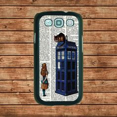 Samsung Galaxy S3 case--Alice and the Cheshire Cat On Dr Who Tardis, in plastic hard case,black or white or clear color. $14.99, via Etsy.