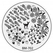 Bundle Monster Nail Stamping Plate 2015 Secret Garden Collection - BM702: Deer Pass Me The Berries