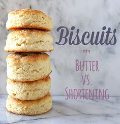 How to Make Biscuits: Butter vs. Shortening is an experiment comparing an all-butter biscuit versus an all-shortening biscuit. Which is the best? (Butter Bread How To Make) Biscuit Recipe Shortening, Butter Biscuits Recipe, Homemade Biscuits, Biscuit Recipe Without Butter, Croissants, Baking Recipes, Cookie Recipes, Bread Recipes, Drink Recipes