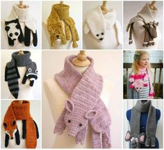 Crochet Animal Scarves - Panda Crochet Scarf, Lion Crochet Scarf, Seal Crochet Scarf, Reindeer Crochet Scarf, Racoon Crochet Scarf, Fox Crochet Scarf, Pig Crochet Scarf, Elephant Crochet Scarf,  Crochet Scarf Patterns