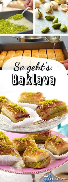 Baklava selber machen - so geht's Schritt für Schritt 2 Rollen (à 10 Blätter; 30x31 cm) frischer Filo- oder Yufkateig (Kühlregal), 200 g ungesalzene Pistazien-Kerne, 4 EL Sesam, 150–180 g Butter, 400 g Zucker, 3 TL Zitronensaft, Alufolie