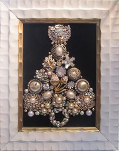 Jeweled Framed Jewelry Christmas Tree White Cream Vintage Pearls Black Velvet by audreymivey on Etsy