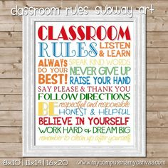 Printable Classroom Rules Subway Art - Teacher Appreciation Gift or Back to School gift #mycomputerismycanvas