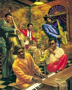 Cool Jazz, Jazz Music, by Sarah Jenkins, African American Art Print Poster Rock Poster, Jazz Poster, Cool Jazz, Jazz Art, Jazz Music, African American Art, African Art, Graffiti Kunst, Jazz Painting