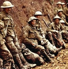 Doomed? One of the most iconic images of the war shows soldiers of the Royal Irish Rifles waiting to join the offensive on the Somme on 1 Ju...