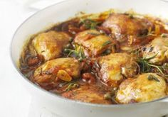Rosemary chicken with tomato sauce. Use Frylight in place of oil and syn the wine. Duck Recipes, Greek Recipes, Chicken Recipes, Roasted Ham, Pickled Red Onions, Rosemary Chicken, Smoked Ham, Boneless Chicken Breast, Bbc Good Food Recipes