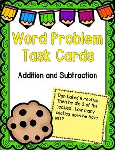 Word Problem Task Cards  This is a great way for students to practice solving word problems! The task cards consist of one step word problems involving addition and subtraction. Each set of task cards has 4 differentiated ways for students to record their answers.