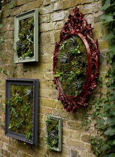 Garden Wall Art, Garden Wall Designs, Vertical Garden Wall, Garden Mural, Garden Frame, Walled Garden, Planting Succulents, Succulent Plants, Succulent Frame