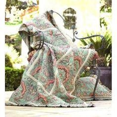 Bacati French King Quilt in Green and Salmon   Wayfair