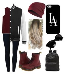 """Dark red school outfit"" by haleyngarcia ❤ liked on Polyvore featuring School Rag, LOFT, Dr. Martens, Casetify and Vans"