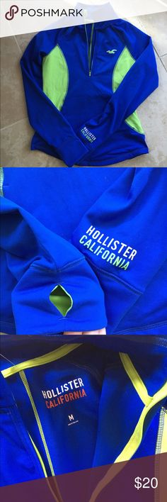 HOLLISTER Pullover Work Out Top Blue & green, moisture absorbing fabric, fitted Hollister Tops