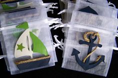 Nautical baby shower theme Favor bags Green , White and Navy Blue Anchors and Sailboats 10  pieces. $17.50, via Etsy.