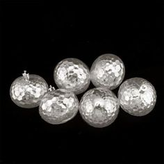 """6ct Clear Transparent Shatterproof Hammered Disco Ball Christmas Ornaments 2.5"""" (60mm)"""