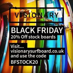 Black Friday Sale! 20% off stock boards. Go to http://ift.tt/19MEsb6 and use code BFSTOCK20 #blackfriday #blackfriday2017 #blackfridaydeals #surfboard #surfboards #madeinengland