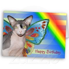Rainbow Cat fairy Birthday Card by Sequin Dreams Studio.