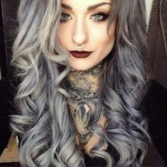 I wouldnt do it to my hair but I think this is absolutely GORG! Ryan Ashley Malarkey, Hot Tattoo Girls, Girl Tattoos, Punk, Tumbrl Girls, Coloured Hair, Silver Hair, Hair Today, Hair Dos