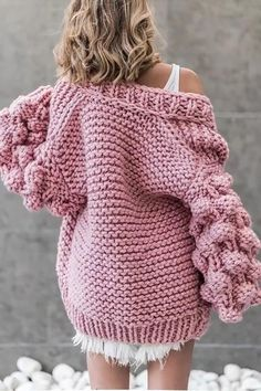 Women's Knitted Crochet Sweater Chunky Oversize Open for Autumn Winter Chunky Knit Cardigan, Crochet Cardigan, Chunky Crochet, Knit Crochet, Winter Sweaters, Sweaters For Women, Knit Fashion, Cotton Sweater, Knitting Designs
