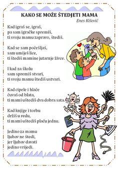 Štedjeti mamu Save your mom Preschool Writing, Preschool Classroom, Preschool Activities, Kindergarten, Croatian Language, Kids Library, Alphabet For Kids, Mothers Day Crafts, Kids Songs