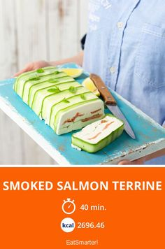 The Smoked Salmon Terrine recipe out of our category saltwater Fish! EatSmarter has over healthy & delicious recipes online. Salmon Terrine Recipes, Smoked Salmon Terrine, Fish Varieties, Dried Mangoes, How To Cook Fish, Roasted Almonds, Fried Fish, Eat Smarter, Fish Recipes