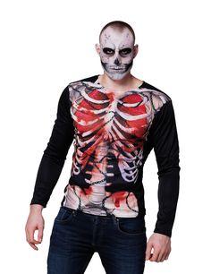 Camiseta mangas largas esqueleto sangriento hombre Halloween: Esta camiseta de…