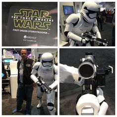 Here still can't shoot straight! 3D Printing was a huge area and and hit. Here is a complete life size 3D printed  Stormtrooper in real size. #ces2016 #3dprinting #starwars #theforceawakens by tekzar_ces