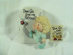Enesco Dear God Kids, Dear God Give Me Patience, Lady And The Refrgerator W/Tag
