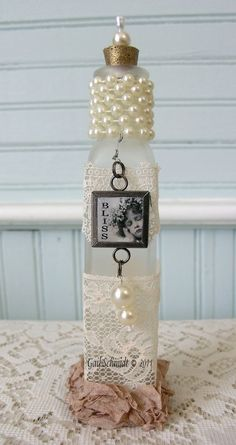 altered bottles | Altered Bottles & Vases ~ / Shabby Cottage Studio (Decorated Bottle And Jars)