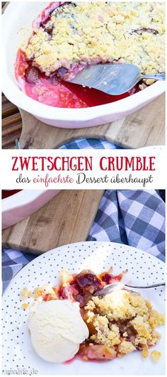 Recipe for plum crumble quick dessert for autumn. # plums The post ZWETSCHGEN CRUMBLE When was the last time you did something for the first time appeared first on Win Dessert. Dessert Simple, Bon Dessert, Quick Dessert, Healthy Dessert Recipes, Easy Desserts, Snack Recipes, Cooking Recipes, Snacks, Pie Recipes