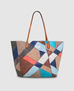 Shopping Capri Atlas reversible con estampado patchwork multicolor