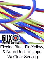 electric blue and fluorescent yellow with neonw red pinstripe with clear serving…