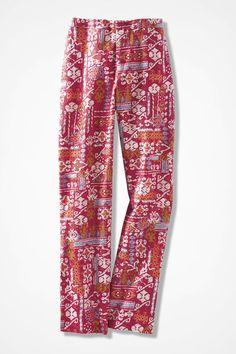 Sunset Mosaic Linen Pants - Coldwater Creek