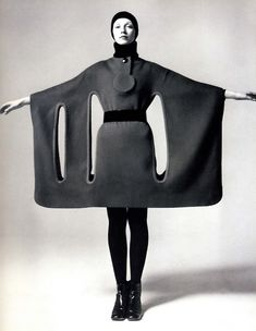 @Glam of God -- I'm intrigued by this dress/cape/tree costume!! would you say this is about design/lines/geometry at the expense of the figure? >> Space Age high fashion, 1960s.